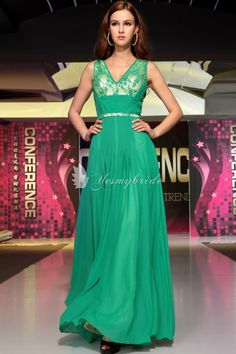 modest green a-line embroidered beading prom dress
