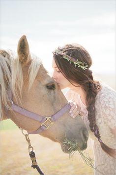 bridal shoot with horse http://www.weddingchicks.com/2013/10/14/lavender-wedding-inspiration/