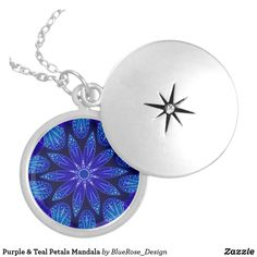 Purple & Teal Petals Mandala Silver Plated Necklace Purple Teal, Blue, Black Felt, Locket Necklace, Colorful Backgrounds, Silver Plate, Mandala, Plating, Sterling Silver