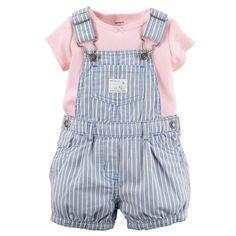 Carters Baby Girls Tee & Denim Shortall Set Pink - meme tips Carters Baby Clothes, Cute Baby Clothes, Carters Baby Girls, Baby Girl Fashion, Kids Fashion, My Baby Girl, 1 Girl, Outfit Sets, Baby Dress