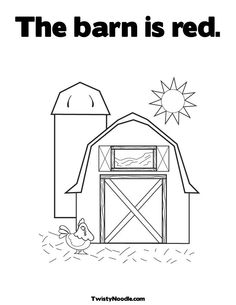 Black And White Cartoon Barn