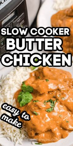 This Indian-inspired Butter Chicken is a great option for a long workday! Toss everything in the crockpot in the morning, then come home to a meal that's ready to be eaten! #spendwithpennies #slowcookerbutterchicken #recipe #maindish #indian #fromscratch Slow Cooker Chili, Slow Cooker Recipes, Crockpot Recipes, Chicken Recipes, Cooking Recipes, Entree Recipes, Indian Food Recipes, Dinner Recipes, Pork Carnitas Recipe