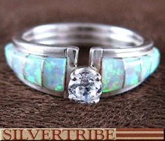 Native American Zuni Indian Opal Inlay and Silver Ring GS56259