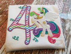 Princess Celestia Inspired My Little Pony Birthday Custom Tee Shirt - Customizable -  Infant to Youth