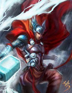 Thor by Yang Fan #YangFan #Thor #Asgard #Avengers #OdinSon #DonaldBlake #GodofThunder #Mjolnir
