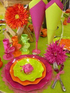 fuschia/orange/vert anis