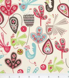 Keepsake Calico Fabric Artistic Birds & Leaves Multi