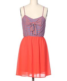 Take+a+look+at+the+brandon+&+ashley+Orange+&+Blue+Stripe+Bodice+Sleeveless+Dress+on+#zulily+today!