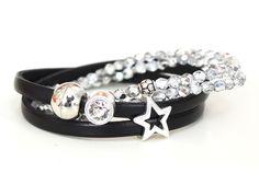 Armbänder - 2x Armbänder Leder schwarz und Glasperlen silber - ein Designerstück von AT-Schmuck bei DaWanda