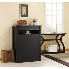 @Overstock - This Atlas storage cabinet brings simple elegance design with a modern twist, with details like five shelves and a top divided compartment concealed by a mirror top panel. Use this matte black cabinet to stow away shoes or clothes in a classy way.http://www.overstock.com/Home-Garden/Atlas-Shoe-Cabinet-Multi-Purpose-Chest-with-Mirror/6803622/product.html?CID=214117 $224.99