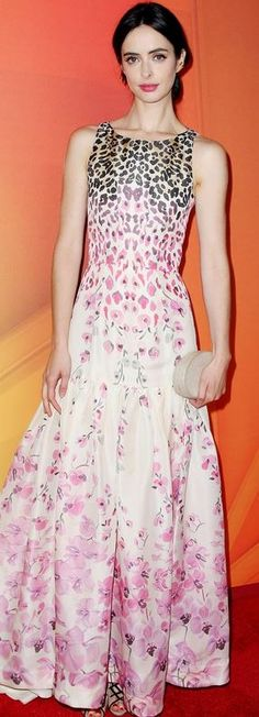 Who made Krysten Ritter's pink floral gown that she wore in New York on May 12, 2014?
