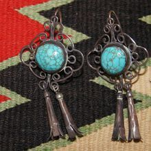 Early  Pueblo Filigree and Turquoise Earrings With Blossom Drops