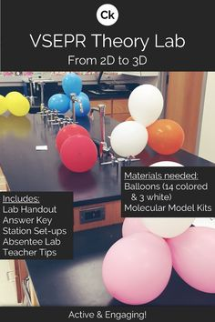 A hands-on, active, visual introductory VSEPR Molecular Geometry Lab to help strengthen students' spatial understanding of molecular shapes. Chemistry Classroom, High School Chemistry, Chemistry Lessons, Teaching Chemistry, Chemistry Experiments, Chemistry Labs, Science Chemistry, Middle School Science, Science Lessons