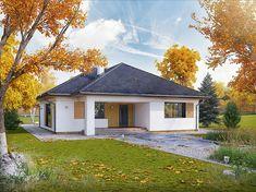 Projekt domu parterowego Dedal o pow. 114,94 m2 z dachem kopertowym, z tarasem, sprawdź!