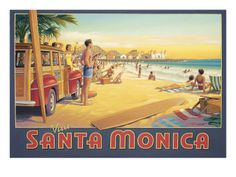 """See 1993 photos and 91 tips from 21627 visitors to City of Santa Monica. """"By far the most desirable part of LA to live in, Santa Monica boasts. Vintage Surf, Vintage California, California Dreamin', Retro Surf, Santa Monica, Voyage Usa, Beach Posters, Surf Posters, Surf Art"""