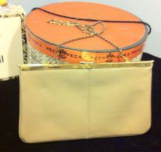 Beige chain strap Leather crossbody/clutch bag by AlleyCatzVintage, $15.00