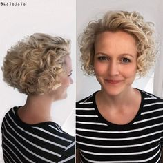 Nape-Length Blonde Curly Bob Blonde curls have dimension and definition like no other color. However, blondeis also the first color to exhibit signs of damage. Deep condition once a week to upkeep the health of your hair. Blonde Curly Bob, Short Curly Bob, Blonde Curls, Blond Bob, Long Curly, Curly Girl, Curly Hair Cuts, Short Hair Cuts, Curly Hair Styles