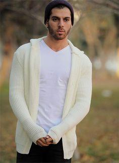 Erkek Ceket Triko Kapşonlu Beyaz | Modelleri ve Uygun Fiyat Avantajıyla | Modabenle