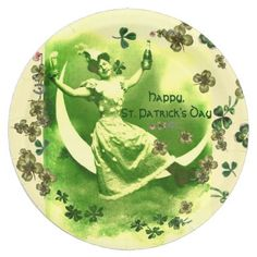 ST PATRICK'S DAY MOON LADYIRISH BEER SHAMROCKS PAPER PLATE - antique gifts stylish cool diy custom