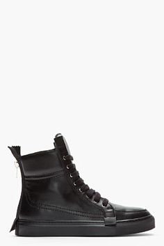 KRISVANASSCHE Black Leather High Top Extended Zip Sneakers.