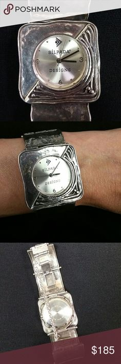 Hammered Silver Silpada Watch -Excellent, working, condition! -Gorgeous 925 hammered silver squares watch -Model T1732 -Beautiful details throughout -It's just a bit too big for my thin wrist (bummer) Accessories Watches