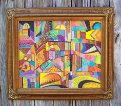ARTFINDER: Fiesta by Norman Blackwell - 'Fiesta' is a neo-pointillist painted using 38 colors of acrylic paint to form 3-D dots across the entire surface. The design is based on a hillside village ...
