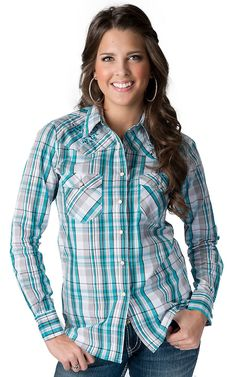 Cowgirl Hardware® Women's Turquoise Plaid with Vine & Horseshoe Embroidery Long Sleeve Western Shirt