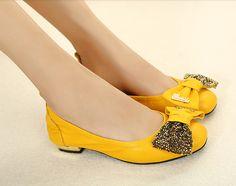 Korean Style Pure Color Bowknot Paillette Shoes