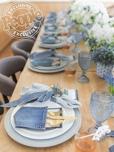 Ali Fedotowsky, Denim Baby Shower, Diamonds And Denim Party, Baby Motiv, Denim Wedding, Diamond Party, Creation Deco, Table Set Up, Deco Table