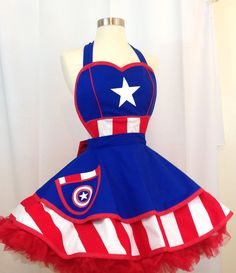 Retro Apron Captain America Apron Captain by WellLaDiDaAprons Pinup, Captain America Costume, Bodice Top, Fitted Bodice, Princess Line, Under The Skirt, Retro Apron, Aprons Vintage, Sewing Aprons