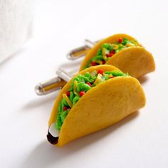 Mexican Food Cuff Links - Crunchy Taco Cufflinks - Mini Food Art Jewelry Collectable by Schickie Mickie