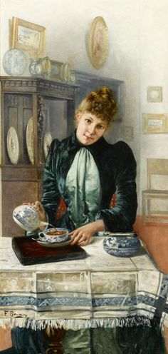 Tea Time, Oil on Canvas - Artist: Francois Brunery (1849-1903) Francesco Brunery, also known as Frappachino Brunson and as François Bruneri, was an Italian academic painter.
