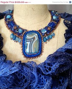 ON SALE Bead Embroidered Collar Blue and Copper by bjswearableart, $75.00 #bead embroidered collar, #beaded necklace,#bead embroidered necklace