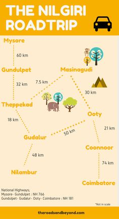 The best way to explore the Nilgiri hills in India. This route map covers the best places to visit near Ooty. Travel Tours, Travel Maps, Travel And Tourism, Travel List, Tourism India, Kerala Travel, India Travel Guide, Goa Travel, Road Trip Map