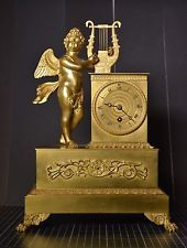 French Antique Figural Gilt Bronze Clock 1820's
