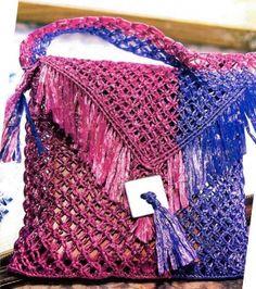 двухцветная сумка макраме
