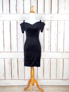 Vintage 90s black velvet fitted off the shoulder formal cocktail dress/short stretch velvet midi evening dress/LBD/xsmall/small by GreenCanyonTradingCo on Etsy