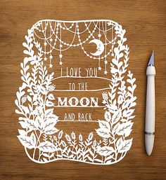 Original Papercut To the Moon and Back Handcut by SarahTrumbauer