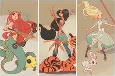 Disney heroines reimagined as warrior princesses. Amazing illustration.