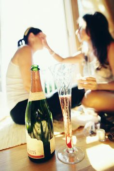 Champagne while getting ready