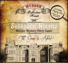 "Sherlock Holmes ""Murder at Riddlestone Manor"" Murder Mystery Dinner Party Game Mystery Dinner Party, Dinner Party Games, Fun Party Games, Host A Party, Party Themes, Party Ideas, 50th Party, Dinner Parties, Murder Mystery Games"