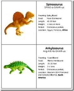 Free Dinosaur Cards and Worksheet make cards to make homemade fossil that will be buried in sand box have kids identify the dinosaurs