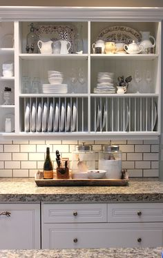 forever*cottage: White cabinets, tan granite, subway tile