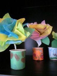 spring crafty crafts -- tissue paper flowers