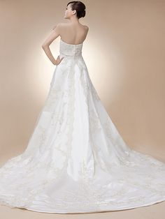 Lace Strapless Sweet-heart Neckline with Silk-like Satin Empire Waistband Chapel Train Wedding Gown by Luka