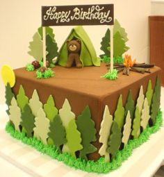 "Camping Cake - 10x10"" Chocolate Cake with Chocolate Butter Cream Frosting and decorated with fondant"