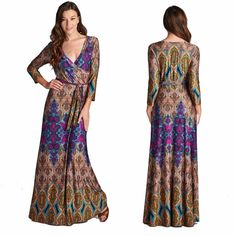 Bohemian Maxi Dress  S M L Gorgeous faux wrap maxi dress with 3/4 sleeves and tie belt. These dresses are great to wear on a special occasion or take on vacation because they are wrinkle resistant. Sizes: Small,  Medium,  Large To purchase: Comment with size and I will make a new listing for you. Thanks. Dresses Maxi