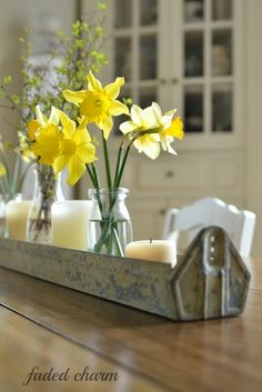 farmhouse table in spring