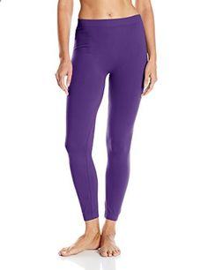 Carnival Women's Full Length Seamless Microfiber Leggings, Purple, Large/X-Large  Go to the website to read more description.