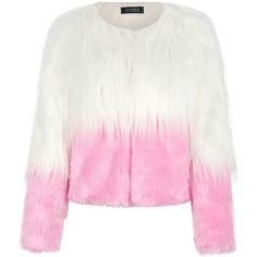 Pink Color Block Faux Fur Coat (€40) ❤ liked on Polyvore featuring outerwear, coats, jackets, fake fur coats, faux fur coat, colorblock coat, imitation fur coats and pink coat